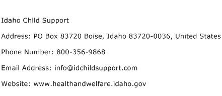 Idaho Child Support Address Contact Number