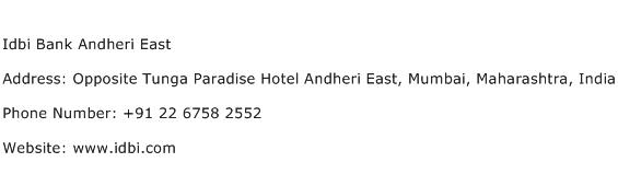 Idbi Bank Andheri East Address Contact Number