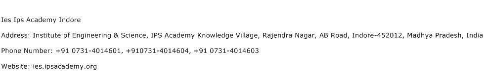 Ies Ips Academy Indore Address Contact Number