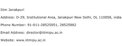 Iitm Janakpuri Address Contact Number