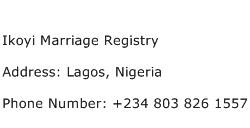 Ikoyi Marriage Registry Address Contact Number