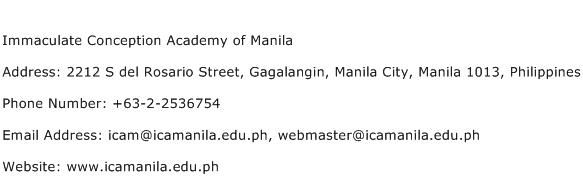 Immaculate Conception Academy of Manila Address Contact Number