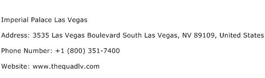 Imperial Palace Las Vegas Address Contact Number