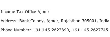 Income Tax Office Ajmer Address Contact Number