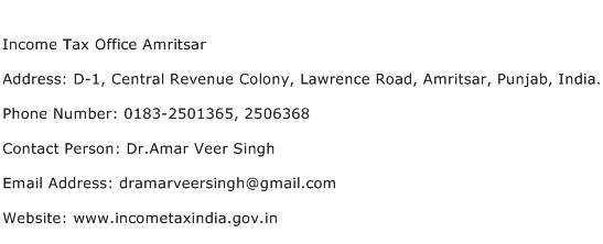 Income Tax Office Amritsar Address Contact Number
