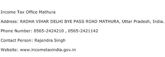 Income Tax Office Mathura Address Contact Number