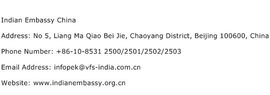 Indian Embassy China Address Contact Number