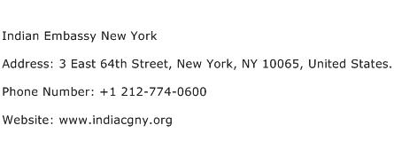 Indian Embassy New York Address Contact Number