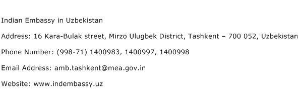 Indian Embassy in Uzbekistan Address Contact Number