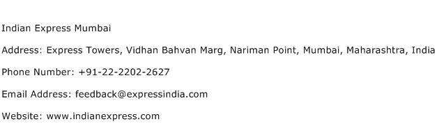 Indian Express Mumbai Address Contact Number Of Indian