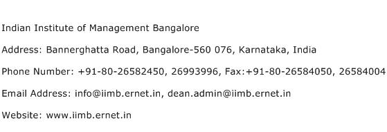 Indian Institute of Management Bangalore Address Contact Number