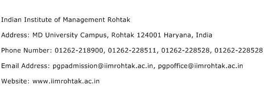 Indian Institute of Management Rohtak Address Contact Number