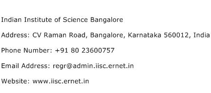 Indian Institute of Science Bangalore Address Contact Number