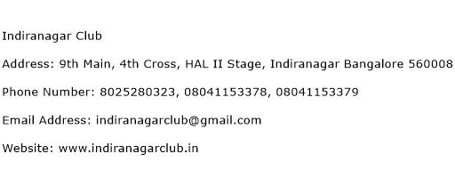 Indiranagar Club Address Contact Number