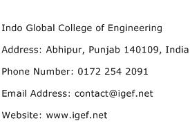 Indo Global College of Engineering Address Contact Number