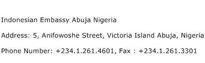 Indonesian Embassy Abuja Nigeria Address Contact Number