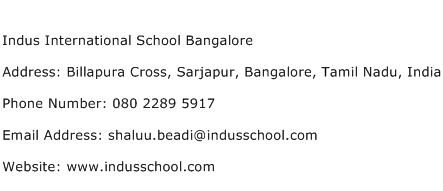 Indus International School Bangalore Address Contact Number