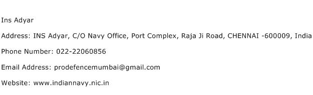 Ins Adyar Address Contact Number
