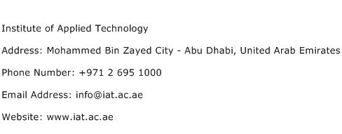 Institute of Applied Technology Address Contact Number