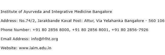 Institute of Ayurveda and Integrative Medicine Bangalore Address Contact Number