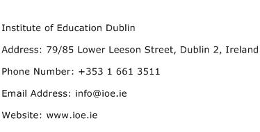 Institute of Education Dublin Address Contact Number