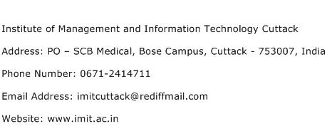 Institute of Management and Information Technology Cuttack Address Contact Number