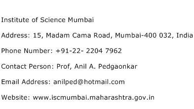 Institute of Science Mumbai Address Contact Number