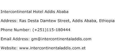 Intercontinental Hotel Addis Ababa Address Contact Number