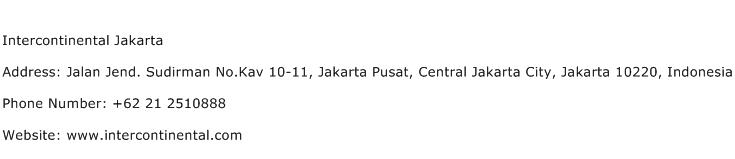 Intercontinental Jakarta Address Contact Number