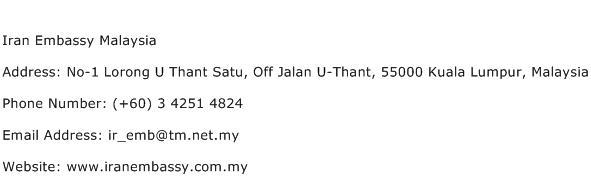 Iran Embassy Malaysia Address Contact Number