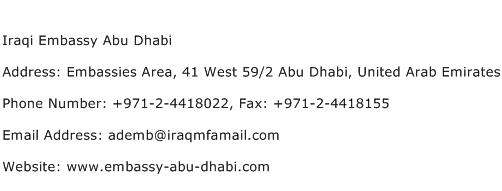 Iraqi Embassy Abu Dhabi Address Contact Number