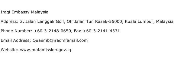 Iraqi Embassy Malaysia Address Contact Number