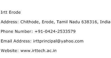 Irtt Erode Address Contact Number
