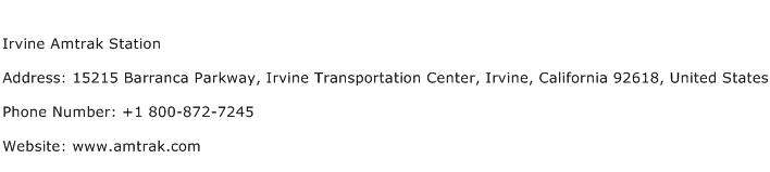 Irvine Amtrak Station Address Contact Number