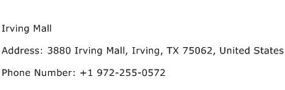 Irving Mall Address Contact Number