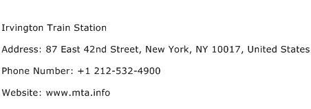 Irvington Train Station Address Contact Number