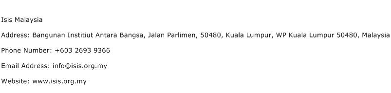 Isis Malaysia Address Contact Number