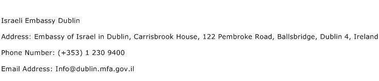 Israeli Embassy Dublin Address Contact Number