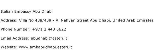 Italian Embassy Abu Dhabi Address Contact Number