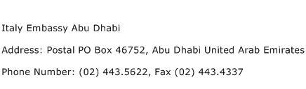 Italy Embassy Abu Dhabi Address Contact Number