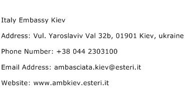 Italy Embassy Kiev Address Contact Number