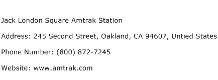 Jack London Square Amtrak Station Address Contact Number