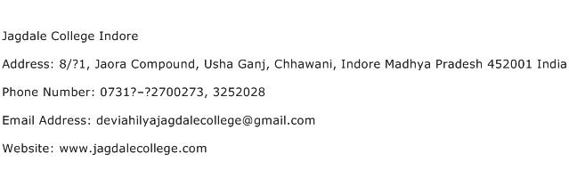 Jagdale College Indore Address Contact Number