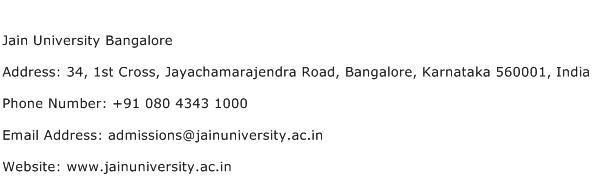 Jain University Bangalore Address Contact Number