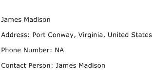 James Madison Address Contact Number