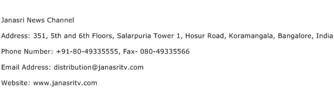 Janasri News Channel Address Contact Number