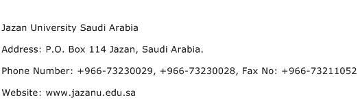 Jazan University Saudi Arabia Address Contact Number