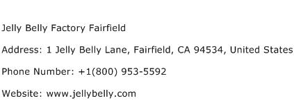 Jelly Belly Factory Fairfield Address Contact Number