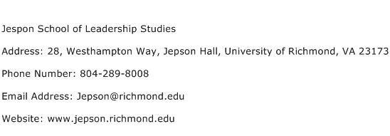 Jespon School of Leadership Studies Address Contact Number