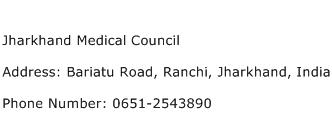 Jharkhand Medical Council Address Contact Number